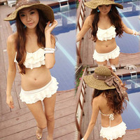Korean Sexy Women Halter Bikini Two Pieces Flounce Swimwear Swimsuit