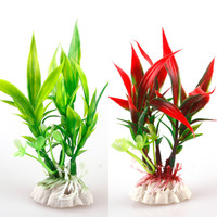 New Red Green Plastic Plant Grass Aquarium Decorative Fish Tank Landscape Decoration #27650