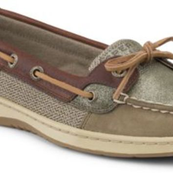 Sperry Top-Sider Angelfish Sparkle Suede 2-Eye Boat Shoe Olive/CognacSparkleSuede, Size 9M  Women's Shoes