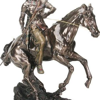 American Indian with Spear on Horse Large Statue Bronze Finish 20H