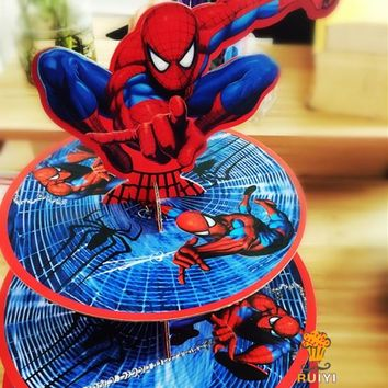 1set cartoon Anime Avengers spider-man baby shower birthday party decorations supplies cardboard cupcake stand hold 24 cupcakes