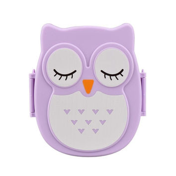 2016 Brand New Kawaii Candy Color Owl Lunch Box Microwave Oven Bento Container Case Dinnerware Children's Birthday Gift(00097)
