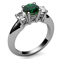 3 stone Ring Emerald Ring Engagement Ring Wedding Ring Promise Ring