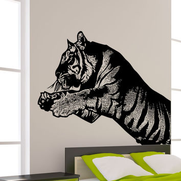 Vinyl Wall Decal Sticker Leaping Tiger #5483