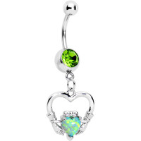 Green Gem Imitation Opal Claddagh Dangle Belly Ring | Body Candy Body Jewelry