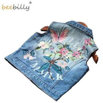 BEEBILLY Girl Waistcoat Spring Autumn Kids Vest Jacket 2018 Flower Butterfly Embroidered Denim Vest Child Clothes Girls Clothes