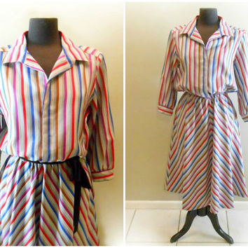 Striped Dress Shirt Dress 3/4 Sleeve Dress Plus Size Extra Large Size 16