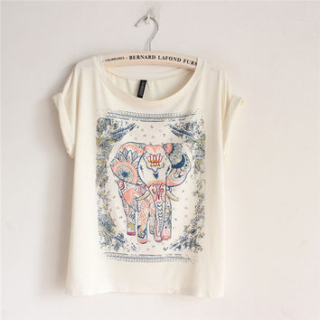 Cotton T-shirt with Walking Elephant Print