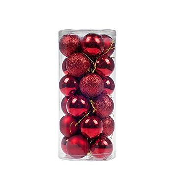 KI Store 24pcs Christmas Balls Ornaments Shatterproof Red Poinsettia Xmas Trees Wedding Parties Decorations (3-Finish, 2.36 inch)