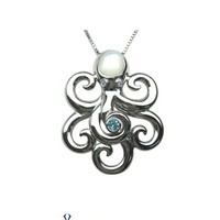 Artistica Diamond and Ocean Blue Topaz Octopus Pendant