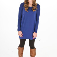 Dark Blue Piko Tunic Dress - Kiki La'Rue