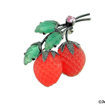 Double Strawberry Brooch Pin Fruit Satin Molded Glass Vintage Austria Unsigned