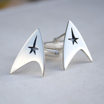 mens cufflinks Star Trek cufflinks quirky mens jewelry sterling silver geek jewelry best man grooms gift