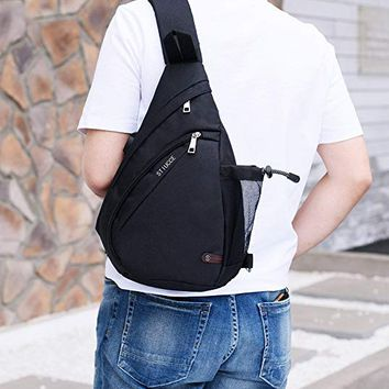 Outdoor Daily Crossbody Backpack With USB Charging Port.Triangular Sling Chest Pack(501)