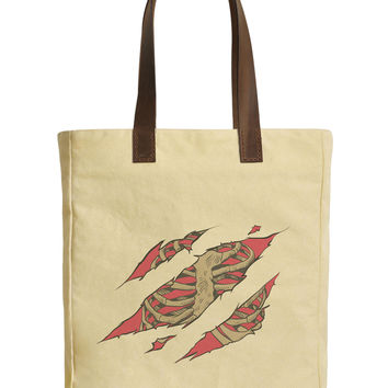 Chest Bones Scratch Beige Print Canvas Tote Bags Leather Handles WAS_30