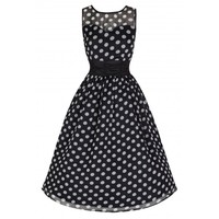 'Cindy' Classy Yet Sassy Black Polka Print Vintage 50's Party Dress