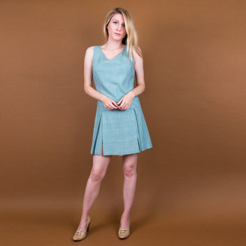 60's mini shift dress / turquoise blue sleeveless mod dress / Vintage 1960s twiggy gogo mod scooter dress