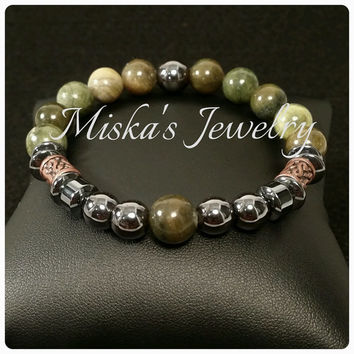 10mm Mexican Line Jasper Gemstone Beaded Bracelet with Hematite Spacer Bead Men, Women, Unisex