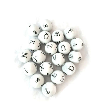 Porcelain Decorative Balls With Numbers, Letters and Special Characters, Set of 18 Alphabet Spheres