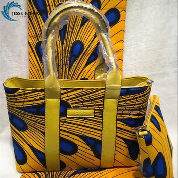 High quality women handbag super wax hollandias 100%cotton fabric with leather bag African wax prints fabric for matching party