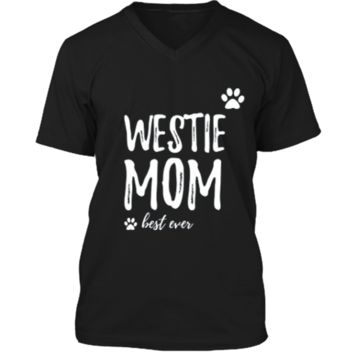 Westie Mom T-Shirt Funny Gift for Dog Mom Mens Printed V-Neck T