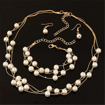 Ahmed Jewelry 3Pcs/Set Fashion Imitation Pearl Jewelry Set Collar Necklaces Statement Choker Necklace & Pendant Woman New A-H162