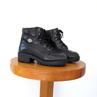 Vintage Harley Davidson leather motorcycle boots. Black chunky ankle boots. Work grunge boots. women's  8