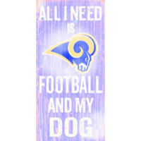 "St. Louis Rams Wood Sign - Football and Dog 6""x12"""