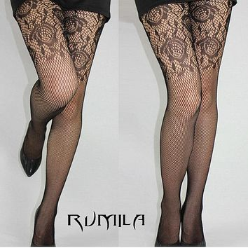Fashion Womens Lady Girls Black Sexy Fishnet Pattern Jacquard Stockings Pantyhose Tights  skull Woman 1pcs dww39
