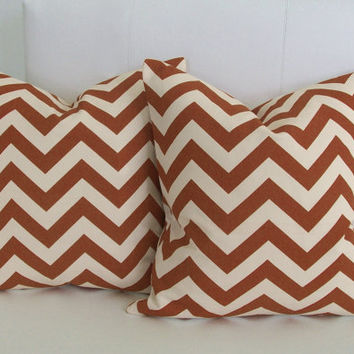 Pillows - Rust Orange Chevron Decorative Pillow Covers 18x18 Set of 2