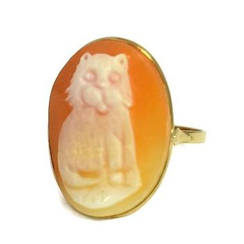 Vintage 14k Gold Cat Cameo Ring Made in Italy Large 1 Inch Cameo