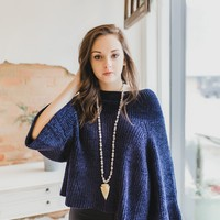 Chenille Cropped Sweater -Navy