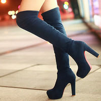 Women Thigh High Boots Female Fashion High Heels Winter Boots Stretch Suede Sexy Womens Knee High Boots Ladies Shoes Size 35-43
