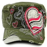 Big Cupid Heart Vintage Distressed Cadet Cap Hat Army Green