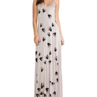 Bird Print Strappy Backless Maxi Dress