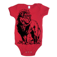 Baby LION Professor Onesuit Girl Bodysuit - American Apparel - 3-6m, 6-12m, 12-18m, 18-24m, (7 Color Options)