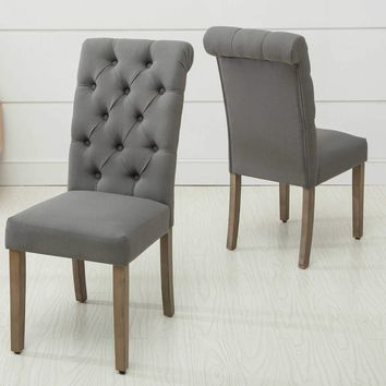 Christies Home Living Natalie Roll Top Tufted Grey Linen Fabric Modern Dining Chair (Set of 2)
