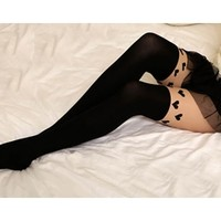 Black Sexy Hearts Mock Knee High Hosiery Pantyhose Tattoo Contrast Tights