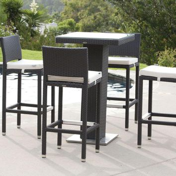 Trade Assurance Handmake Wicker Synthetic Rattan patio wicker bar table and chair set
