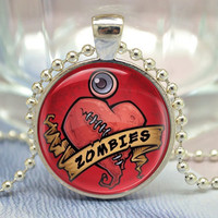 Zombies Necklace, Broken Heart pendant,zombie eye Jewelry Necklace (XL28)