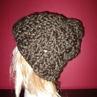Super chunky braided cabels skull cap in Granite