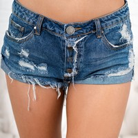 Bring It Right Back Distressed Shorts (Dark Wash)
