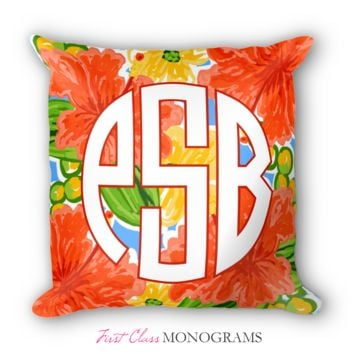 Tracey Gurley Coral Hibiscus Monogram Throw Pillow