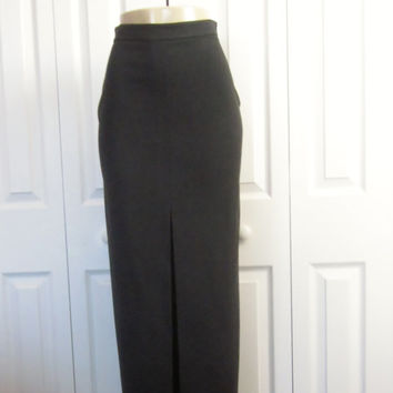 Vintage Sexy Black Skirt Long Maxi Pencil Skirt Long Front Slit Made in France Womens Size 8 Black Maxi Skirt Dressy Goth Gothic