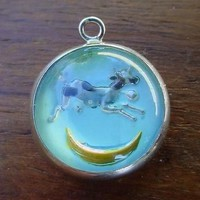 Vintage sterling silver COW JUMPING OVER MOON INTAGLIO REVERSE CRYSTAL charm
