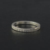 Sterling silver tree bark Rings,hammered band ring, stacking ring