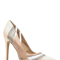 Nude Three Tone Faux Patent Leather Pointed Toe Pumps