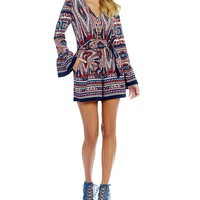 GB Printed Bell Sleeve Wrap Romper | Dillards