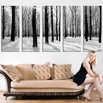 Grayscale Forest and Snow Large Wall Art Print, Forest Canvas Print, Forest and Winter Art Canvas Print, Wall Art Canvas Print 5 Panel - MC146