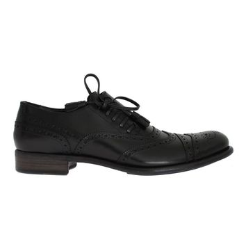 Dolce & Gabbana Black Leather Wingtip Oxford Shoes